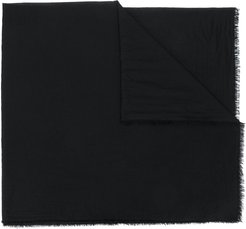 frayed edge scarf - Black