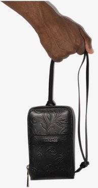 black embossed leather phone case bag