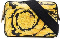 baroque-print leather belt bag - Black