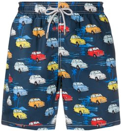 car print swim shorts - Blue