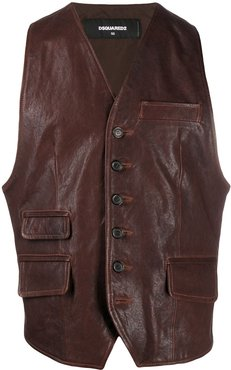 leather button-front waistcoat - Brown