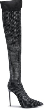 embellished thigh-high boots - Black