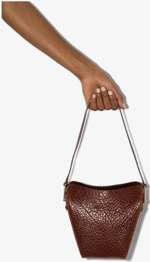 brown folded mini leather tote bag