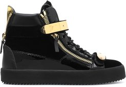 Coby high-top velvet trainers - Black