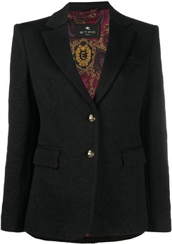 paisley patterned embossed button blazer - Black