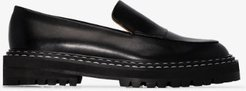 black Manduria leather loafers