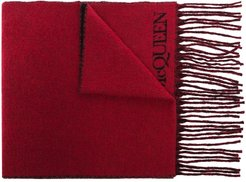 Blown Up intarsia-knit scarf - Red