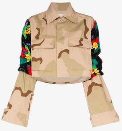 floral panel camouflage cropped jacket
