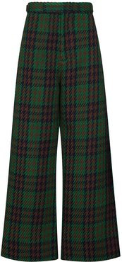 wide leg grid check trousers - Green