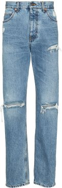 ripped-knee loose-fit jeans - Blue