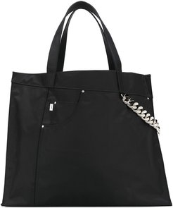 chain-detail shopper tote - Black