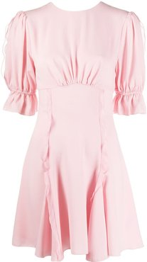 ruched ruffle detail dress - PINK