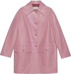 single-breasted leather coat - PINK