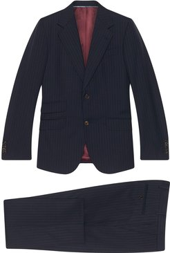 pinstriped two-piece suit - Blue
