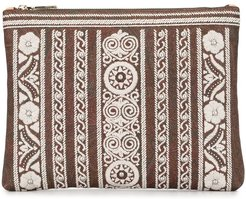 floral embroidered clutch bag - Neutrals