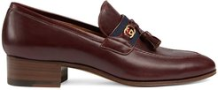 low heel leather loafers - Brown