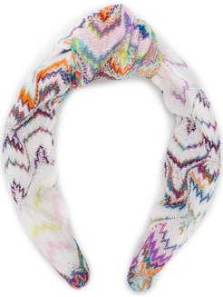 abstract patterned hair band - White
