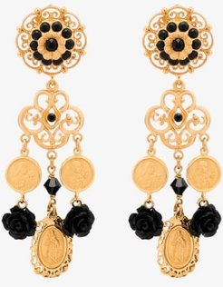 gold tone embellished coin earrings