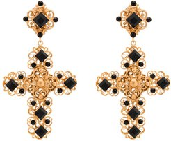 crystal embellished cross earrings - GOLD