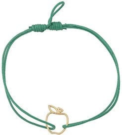 9kt yellow gold Manzana cord bracelet - Green