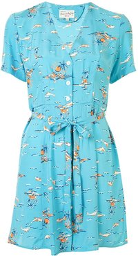 Rosemary tie-waist shirt dress - Blue