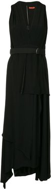 belted v-neck midi dress - Black