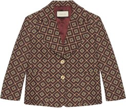 GG Damier jacquard single-breasted blazer - Red