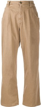 wide-leg chino trousers - Brown