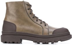 contrast panel lace-up boots - Green