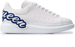 oversized logo-patch sneakers - White