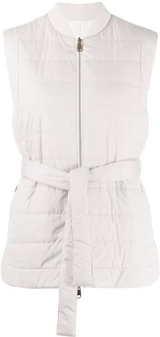 sleeveless quilted gilet - Grey