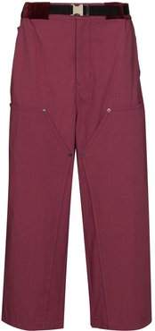Oxford loose fit cropped trousers - PINK