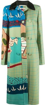 fitted patterned coat - Green