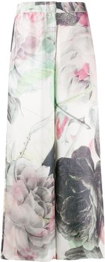 Laura rose-print trousers - White