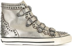 studded high-top sneakers - Metallic