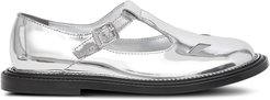 metallic T-bar shoes - SILVER