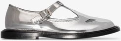metallic T-bar shoes