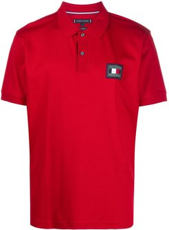 logo patch polo shirt - Red
