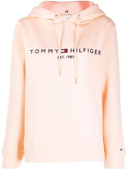 logo embroidered hoodie - PINK
