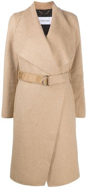 belted double-breasted coat - Neutrals
