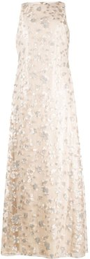 sequin-embroidered sleeveless gown - NEUTRALS