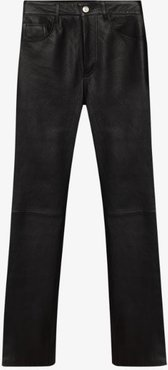 straight leg leather trousers