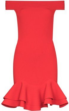 off-the-shoulder ruffle trim cocktail dress - Red