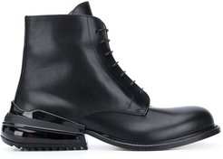 lace-up leather boots - Black