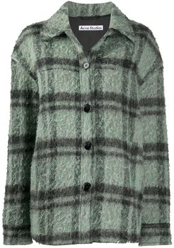 brushed check overshirt - Green