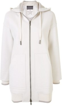 hooded zip-up sports coat - White