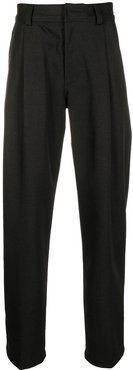 pleated wool suit trousers - Black