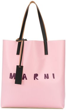 two-tone logo tote bag - PINK