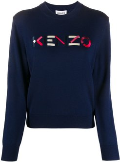 embroidered logo crew neck jumper - Blue