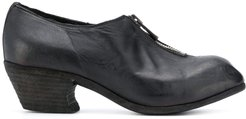 zip-front leather shoes - Black